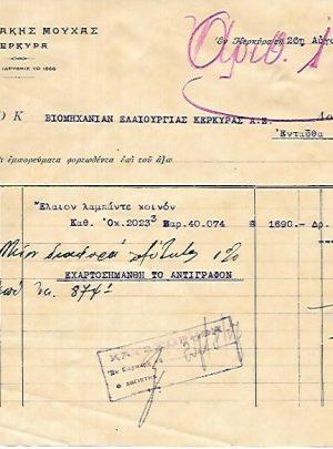 Β. Νικολάκης Μούχας έμπορος Κέρκυρα